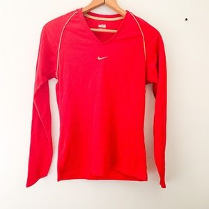 Nike Red Long Sleeve Fitdry Athletic Top